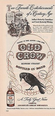 Original 1948 Old Crow Burbon Whiskey Ludlows Kentucy Comedians Art Print Ad