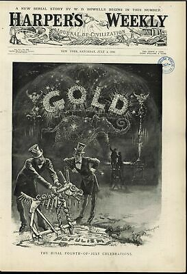 Fourth of July Gold Standard Political Cartoon 1896 antique Harpers print