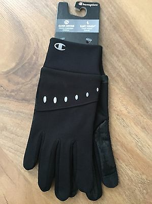 New Champion Men's Black Running Gloves Size M/L Touch Screen Compatible