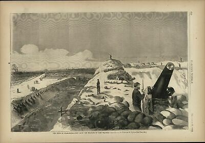Siege of Charleston From Sea-Face of Fort Wagner 1863 Harpers Civil War print