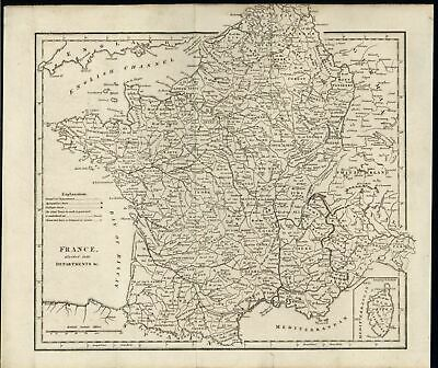 France Lower Rhine Brittany Normandy Monaco c.1795 antique engraved map