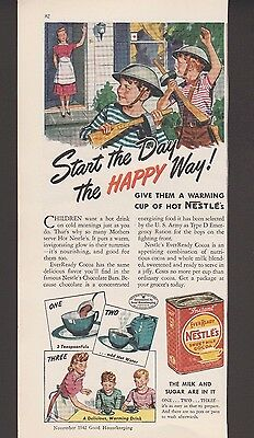 Original 1942 Nestle Cocoa Mom Boys Playing with Toy Guns Vintage Art Print Ad