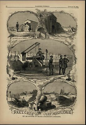 Views of Fort Moultrie & Artillery 1861 antique Harpers Civil War print