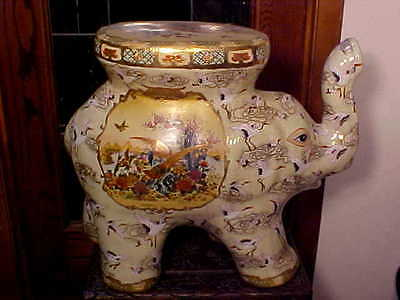HUGE ELEPHANT Garden Seat Stool Plant Stand Trunk Up CRANE BIRDS 4 LUCK Satsuma