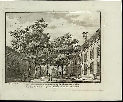 Lepers Hospital Courtyard Amsterdam Holland 1768 old antique engraved print