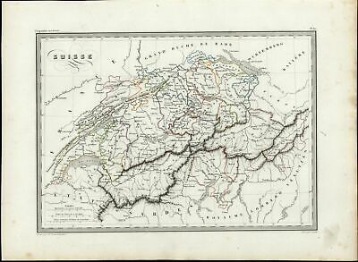 Switzerland Alps Lake of Constance Geneva nice 1846 uncommon antique color map