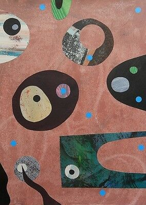 Abstract Original Collage Wall Art Painting Mid Century Geometric Brown Green