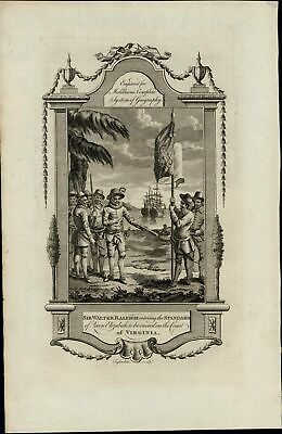 Sir Walter Raleigh Queen's Flag VA ca. 1780's fascinating old engraved print