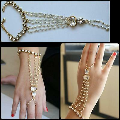 Indian Bollywood Antique Rhinestone Pearl Chain Hand Bracelet Jewelry Haathful