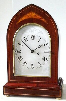 Elegant Antique Fusee Bracket Mantel Clock Mahogany Inlaid Lancet Case, Serviced