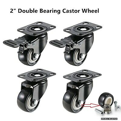 "4 x 2"" Heavy Duty PU Swivel Castor Wheels With Brake 50mm    Load 80KG Each"