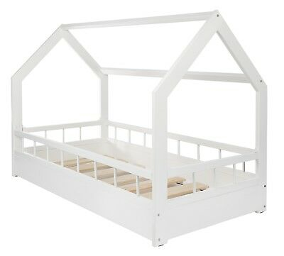 Wodden, Scandinavian style, modern, kids, toodler bed, white, 160x80 +barriers
