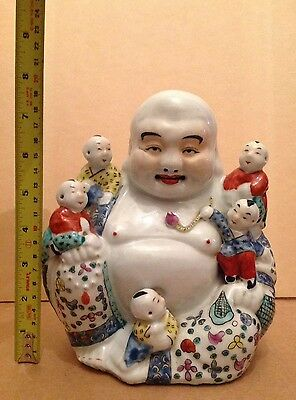 Chinese Famille Rose Porcelain  Happy Laughing Buddha H20cm(Hair Line)