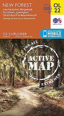 OL22 New Forest Southampton Ringwood Laminated Active Explorer Map OL 22