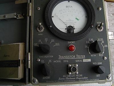 Vintage, TRANSISTOR TESTER, Model 219B by SIERRA ELEC. Made in USA