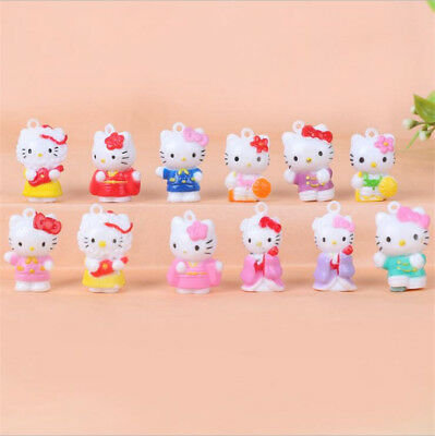12pcs Hello Kitty Anime Figures Cute Mini Figurine Toy Kids Display Set 2CM