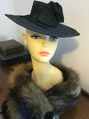 Original Vintage 1920s - early 1930s 1940s French Black Ladies Straw Hat