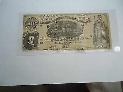 1861- T-30- Rarity4 - $10 dollar Confederate note