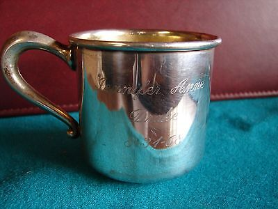 Sterling Silver Baby Cup Web Company  Gold Wash Inside