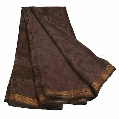 Sanskriti Antique Vintage Printed Saree 100% Pure Silk Craft Brown Fabric Zari