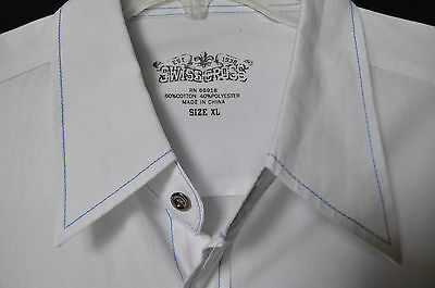 Men's Swiss Cross solid white short sleeve button front casual shirt size XL