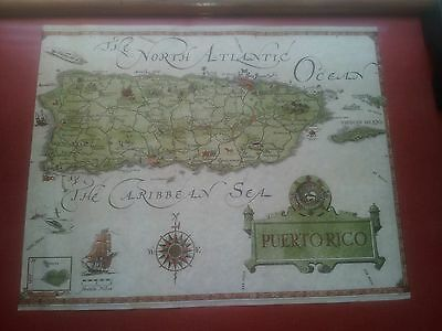 """Vintage 15 13/16"""" x 20"""" 1964 PUERTO RICO Map by Island Workshop EXCELLENT"""