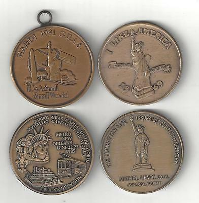 4 VINTAGE BRONZE STATUE OF LIBERTY NY NYC NEW YORK COINS MEDALS TOKENS LOT 1960s