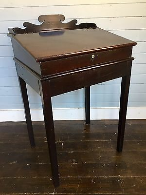 Antique Early 19thc Georgian Mahogany Clerks Desk on an Oak Square Legged Stand