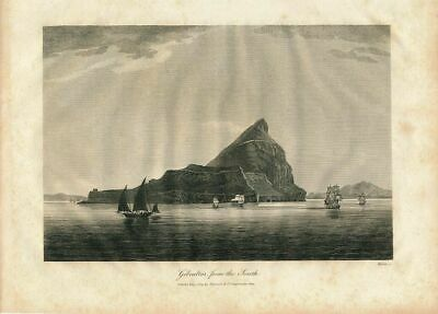 View of cliffs of Gibraltar from the south nice 1809 old vintage engraved print