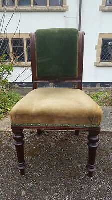 Antique Mahogany Victorian Era Padded Library Chair with Scroll Back Needs TLC