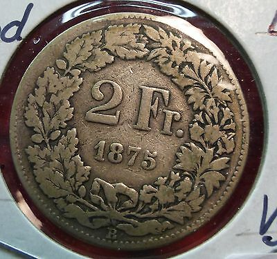 SWITZERLAND 1875 B  2 Francs Silver Coin