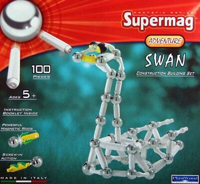 Supermag Magnetic Genius Adventure Swan Construction Plastwood 0311