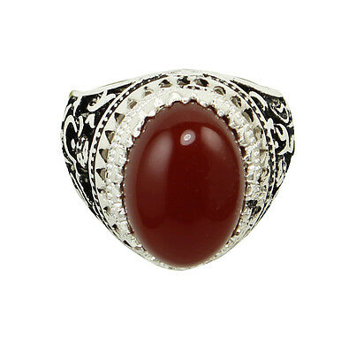 Islamic Shia China Red Agate Men Handmade Ring silver plated - FREE Shipping