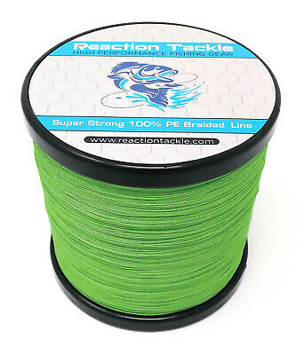 Reaction Tackle High Performance Braided Fishing Line / Braid - Hi Vis Green