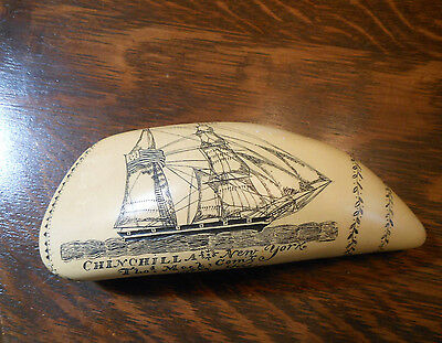 Artek Reproduction SCRIMSHAW WHALES TOOTH - Tamaahmaah & Chinchilla Ships -