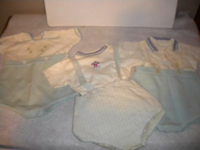 3 Vintage Romper Outfits Penney's Toddle Time Sz 6 mos Snap crotches Blue/white
