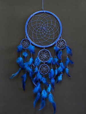 Dream Catcher Large Blue Wall Hanging Home Decoration Ornament Feathers 25 ""