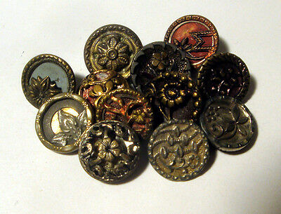 Lot 12 Antique Metal Buttons FLOWER Variety  Victorian Tinted Layered Plant Life