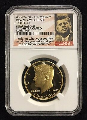 2014-W 50C Kennedy Gold NGC High Relief Early Releases PF70 Ultra Cameo