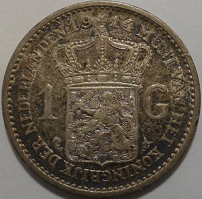 Netherlands silver coin 1 Gulden 1914 in nice grade with patina!