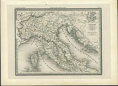 North Italy Rome Inset Corsica Cisalpine Gaul Ombrie c. 1860 scarce old map