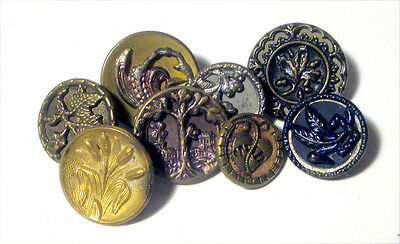 Lot 8 Antique Metal Buttons LEAVES Variety ~ Plant Life