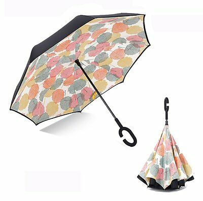 Double Layer Inverted Umbrella,Pococina Windproof Golf Reverse Umbrellas for and