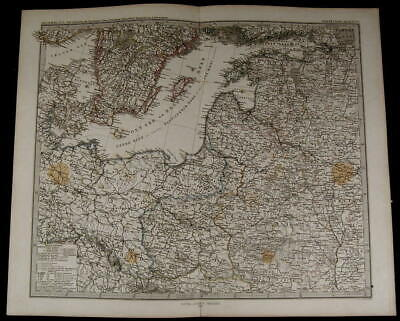 South Sweden Poland Russian Provinces Prussia nice 1874 fine old detailed map