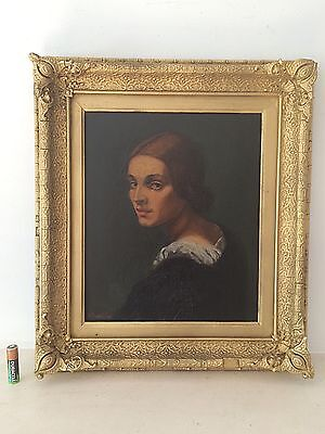 Antique Oil Portrait Painting Of A Woman Gilt Wood Frame Signed Maxwell 19th C