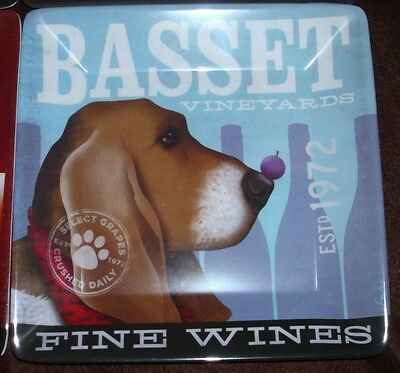 "NEW DEMDACO DOGS ROCK PLATE BASSET SNACK APPETIZER 8""x8"" SQ MELAMINE NEW"