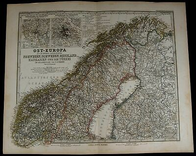 Scandinavia Norway Sweden Finland Stockholm Russia 1884 fine old detailed map