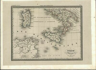 Southern Italy Sicily Sardinia North Africa Mediterranean c. 1860 scarce old map