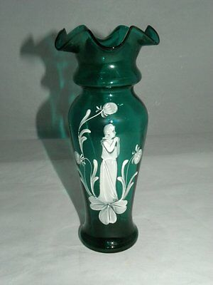 "Antique Victorian 8 1/2"" Green Mary Gregory Vase"