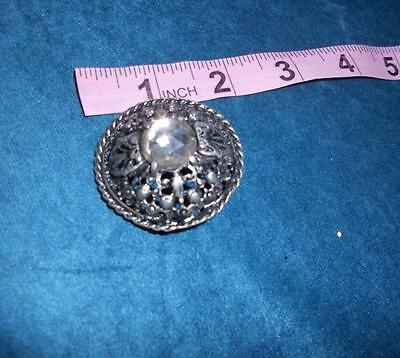 #79 Collectable Antique Victorian Jewel Buttons Silver Metal & Clear Stone Large